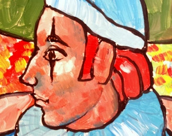 Mid Century Modern Original Clown Painting