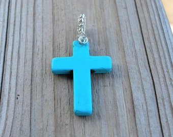 Sterling Silver Turquoise Cross Pendant Mother Wife Daughter Western Rugged Religious Birthday Valentine Mother's Day Anniversary Graduation