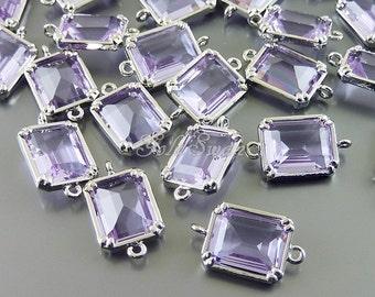 2 lavender purple geometric rectangle glass connectors, jewelry necklace pendants, beads  5035R-LA