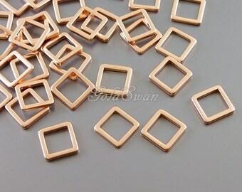 4 pcs matte rose gold dainty small 7mm squares, geometric square charms, square pendants, geometric necklace 1447-MRG-7