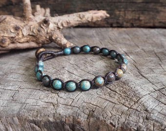 Blue Sky Jasper Beads Bracelet, simple unisex bracelet, 6mm beads