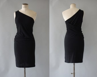 Asymetrical dress | Black viscose bodycoon dress | 1990's by cubevintage | medium