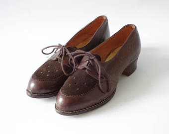 Brown brogues   Chocolate leather oxford heels   1940's by Cubevintage   size 35.5