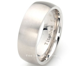 Titanium Wedding Band, Brushed Ring, Mens Wedding band, Titanium Ring, Domed Mens Wedding Band, 8mm titanium band, Personal Laser Engraving