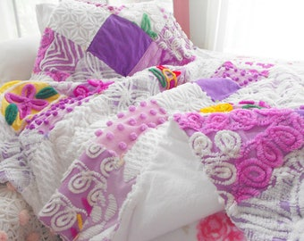 GORGEOUS FLUFFY SNUGGLY Large Throw Sz Vintage Chenille Flannel Patchwork Quilt