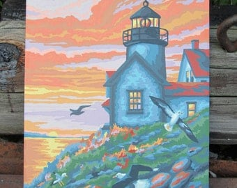 Vintage Paint by Number Lighthouse Ocean Cape Sunset Craft House PBN Unframed Painting