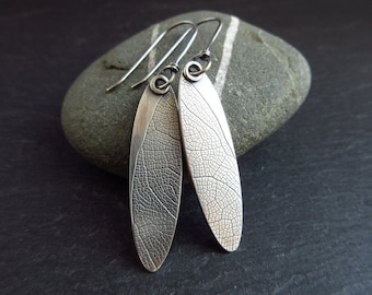 Sterling silver earrings with leaf vein pattern, long oval shape earrings, oxidized patina, metalwork jewelry, ladies earrings, christmas