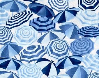 Umbrellas Blue Fabric --HARD Find -- 40-70% off Patterns n Books SALE -- LAST Piece