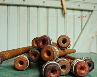 SaleToday 1 Wood Spool - Antique Industrial Wooden Textile Bobbin Yarn Center Pull Ball Winder Nostepinne Thread Organizer Rustic Home Decor