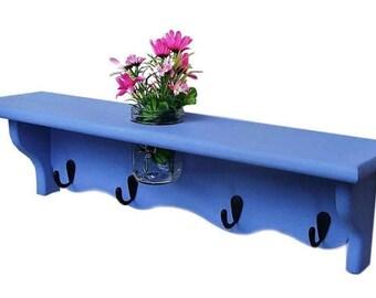 Shelf, Mason Jar,n Flower Vase, Key Hooks, Dog Leash Holder, Scarf Holder, Purse Holder, Collectible Shelf
