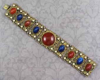 Vintage 1920s Austrian Gilded Brass Filigree Carnelian and Lapis Glass Faux Pearl Panel Linked Bracelet