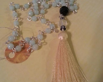 Boho Tassel Necklace, Lagenlook, Boho, Rosary Style Necklace, Blue Jade Necklace