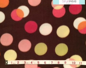 Polka Dot Brown Fleece, 1 yard