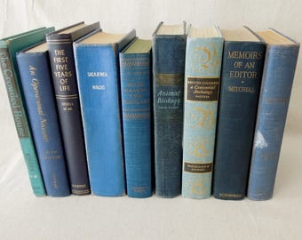 Blue Book Stack - Books by the Foot - Old Decorative Books - Vintage Navy Royal Powder Blue Books by Color