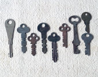 Vintage Metal Cabinet Keys for Reuse Lot of 9