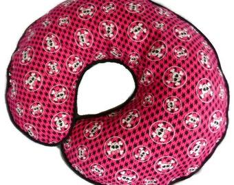 Girly Skull Boppy Pillow Cover Pink and Black Houndstooth Girly Skulls Nursing Pillow Cover for baby girl