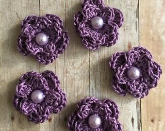 Crochet Flowers Crochet Appliques with Pearl in Purple