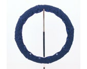 SALE! Easy Care Knit Steering Wheel Cover (Navy Blue) with Safety Rubber Backing, Machine Washable