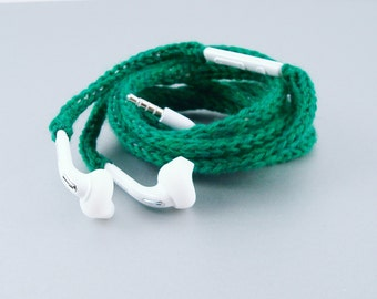 Tangle Free Knit Samsung Earbuds in Emerald Green