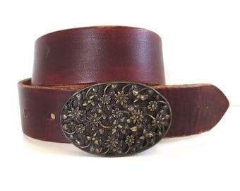 Vintage Napolean Emperor Flower Brass Buckle Belt