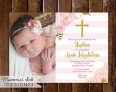 10% OFF SALE Pink and Gold Baptism Invitation, Dedication Invite, Christening Invite, Watercolor Flower Invitation, Photo Baptism Invitation