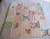 """Shipping for Connie Pink Green White Vintage Chenille Baby Quilt - """" Girly Girl"""" -  Boutique quality handmade vintage chenille baby quilt"""
