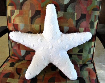 "Large 18"" White Squiggle and Pops Vintage Chenille Starfish Pillow - Nautical / Beach Themed - Ready to Ship"