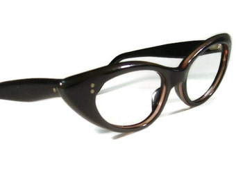Vintage 60s Winged Cateye Eyeglasses Eyewear Frame France NOS