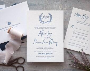 Letterpress wreath and modern calligraphy wedding invitation. Rustic wedding SAMPLE