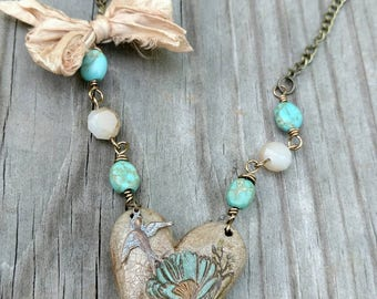 Rustic turquoise heart necklace