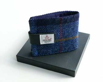 HARRIS TWEED wallet, navy blue tartan,  great gift for men, hand woven in Scotland
