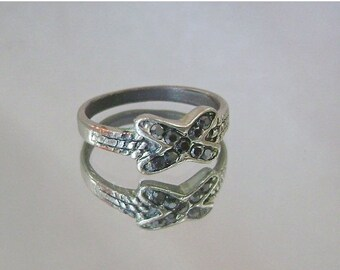 SALE Vintage Ring Marcasite Silverplated over Copper