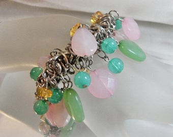 ON SALE Vintage Pink Mint Green Charm Bracelet.  Frosted Beads. Dangling. Lucite.