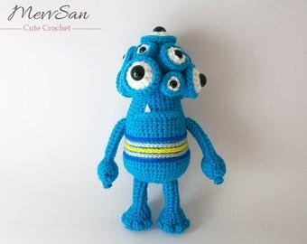 Crochet PATTERN PDF - Amigurumi Horace the Monster - crochet monster pattern, cute crochet amigurumi monster plush, monster softie