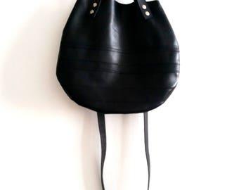 Black  leather  basket bag ,Cross-body bag ( leather straps on front)
