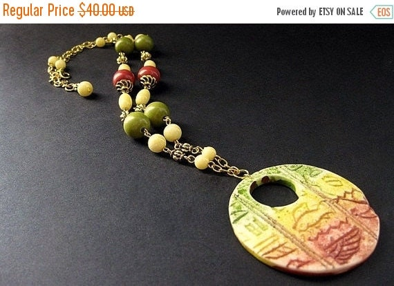 HOLIDAY SALE Sunset Necklace. Egyptian Necklace. Hieroglyph Necklace. Red, Green, and Yellow Necklace. Gold Necklace. Handmade Necklace. Han
