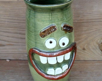Lol Ug Chug Face Jug. Big Handmade Ceramic Vase. Unique Eclecic Home Decor. Forest Green. Funny Goofy Uncommon Gifts for the Home