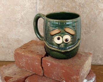 Over 16 Ounce Large Mugs. Coffee Cup Hot Tea Mug in Green. Funny Puzzle Face Pottery Mug. Stoneware Beer Stein. Microwave Dishwasher Safe.