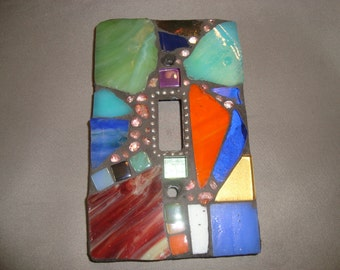 MOSAIC Light Switch Plate -  Single Switch, Wall Art, Wall Plate, Multicolored, Crazy Quilt