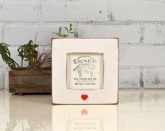 4x4 inch Square Picture Frame in Super Vintage White with Red Heart Embellishment - IN STOCK - Same Day Shipping White Gift Frame