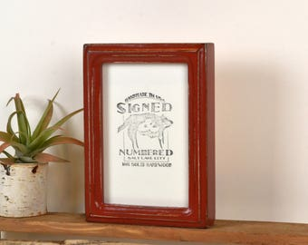4x6 Picture Frame in Deep Double Cove Rounded Style with Vintage Brick Red Finish - IN STOCK - Same Day Shipping - 4 x 6 Photo Frame Red