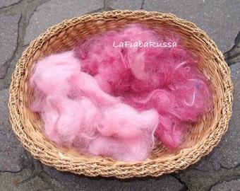 Mix pink/ dark pink shades Mohair fiber ready to art batt, drym carder hand processed fiber for filz, spinning other waldorf crafts (balls)