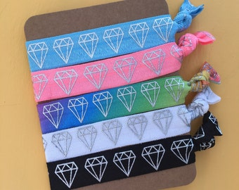 5 Pack Diamond Geometric Rainbow Inspired Knot Hair Ties Fold Over Elastic Stretch Bracelet by Whimsical Elements