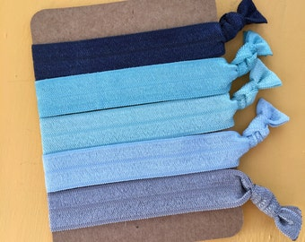 5 Pack Blue Ocean Beach Tone Inspired Knot Hair Ties Fold Over Elastic Stretch Bracelet by Whimsical Elements