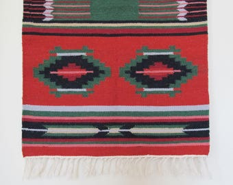 Vintage Wool Rug or Saddle Blanket or Wall Hanging Hand-Loomed