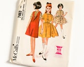 Vintage 1960s Girls Size 12 Full Skirt and Jumper McCalls Sewing Pattern 7463 Complete / breast 30 waist 25