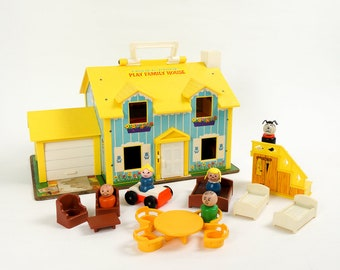 Vintage 1960s Toy / 1969 Fisher Price Play Family House Complete Little People and Furniture / Role Play Pretend Retro Collectible Toy
