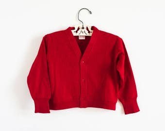 """Vintage 1950s Childs Size 3 Buster Brown Top Jacket  / b25"""" L12"""" / Brick Red Stretch Knit Cotton Snap Front"""