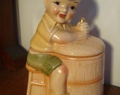 VINTAGE American Bisque Boy sitting on BUTTER CHURN Cookie Jar
