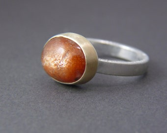 Unique Gemstone Artisan Ring - 14k Gold, Sterling Silver, Natural Oregon Sunstone - Fall 2016 - Potter's Clay - Mixed Metal Jewelry